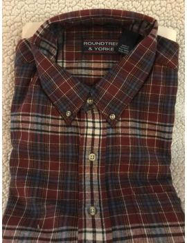 Mens Roundtree & Yorke Long Sleeve Portuguese Flannel Button Up Shirt Size L by Roundtree & Yorke