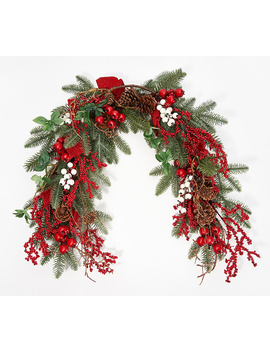 4-poinsettia,-berry-and-pinecone-garland-by-valerie by the-valerie-parr-hill-collection