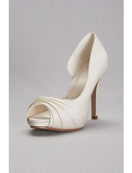 Satin Pleated  D'orsay Platform Pumps by David's Bridal