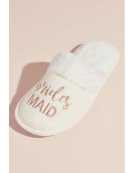 Fuzzy Bridesmaids Slide Slippers by David's Bridal