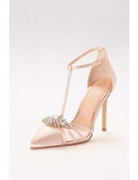Pointed Satin T Strap Heels With Crystal Ornament by Jewel Badgley Mischka