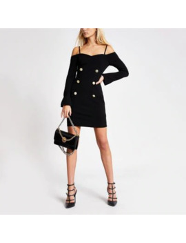Black Cold Shoulder Bodycon Tux Dress by River Island