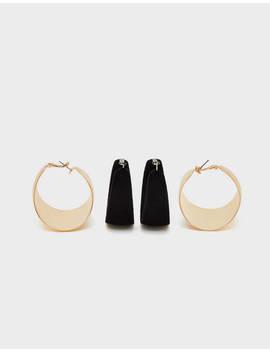 Set Of Wide Hoop Earrings by Bershka