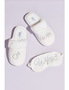 Fuzzy Wifey Slippers And Sleep Mask Set by David's Bridal