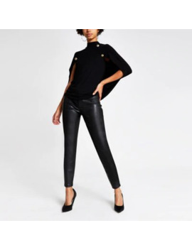 Black Button Embellished Long Sleeve Cape Top by River Island