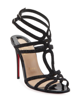 Renee Glitter Red Sole Sandals, Black by Christian Louboutin