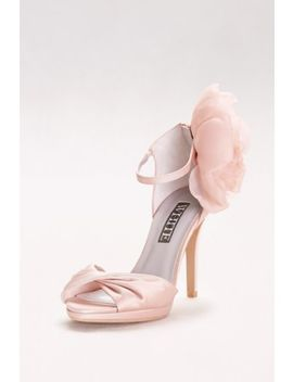 Twisted Satin Peep Toes With Chiffon Flower by White By Vera Wang