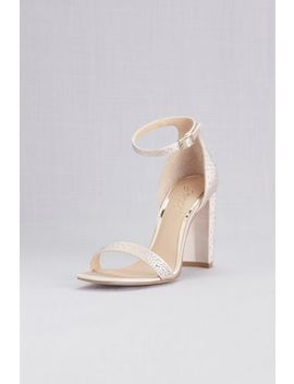 Satin Crystal Ankle Strap Sandals With Block Heel by Jewel Badgley Mischka