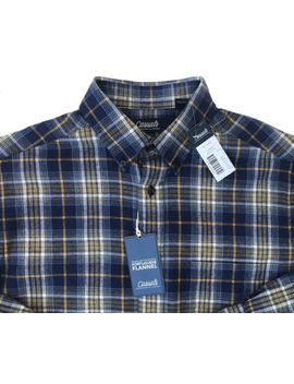 Men's Casuals Blue White + Plaid Portuguese Flannel Shirt Small S Nwt New Wo W! by Roundtree & Yorke