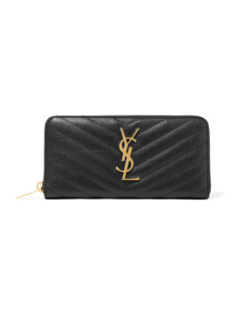 Portefeuille Long En Cuir Texturé Matelassé Zip Around by Saint Laurent