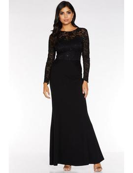 Black Sequin Lace Long Sleeve Maxi Dress by Quiz