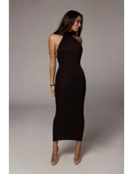 Black Nela Mock Neck Basix Dress by Jluxlabel