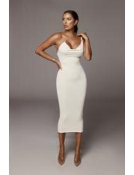 Ivory Amarie Rhinestone Strap Dress by Jluxlabel