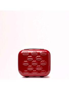 Red Hard Sided Lips Vanity Case by Lulu Guinness