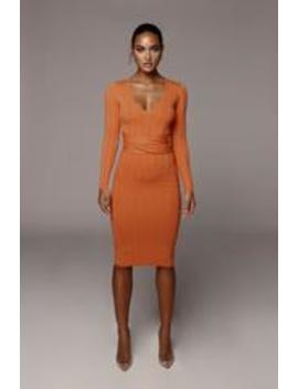 Orange Kita Ribbed Mid Tie Dress by Jluxlabel