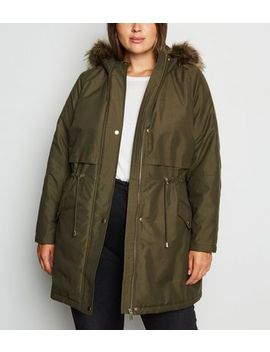 Curves Khaki Hooded Longline Parka by New Look