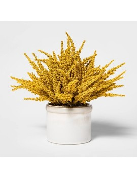 "11"" X 10"" Artificial Goldenrod Arrangement In Ceramic Pot Yellow/White   Threshold™ by Shop Collections"