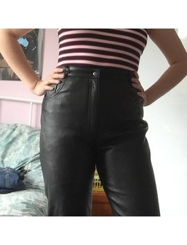🌑 Real Vintage Black Leather High Waisted Trousers! by Depop
