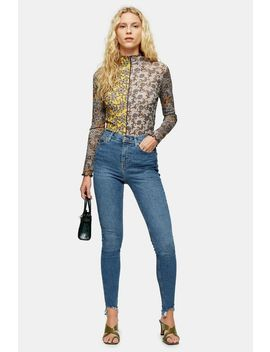 Tall Mid Blue Jagged Hem Jamie Jeans by Topshop