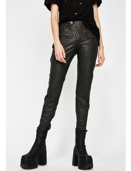 Faux Leather Skinnies With Slanted Zipper by Devil Fashion