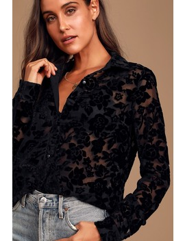 My Love For You Black Burnout Velvet Floral Print Button Up Top by Lulus