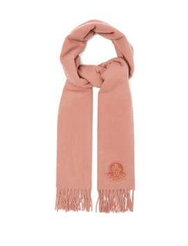 Logo Appliqué Fringed Wool Scarf by Moncler