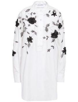 Floral Appliquéd Embroidered Cotton Blend Poplin Shirt by Oscar De La Renta