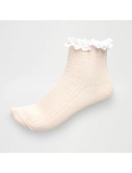Light Pink Cable Knit Frill Ankle Socks by River Island