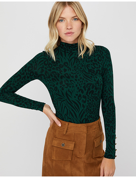 Andora Animal Print Polo Neck Jersey Top by Monsoon