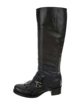 Kiltie Round Toe Knee High Boots by Prada