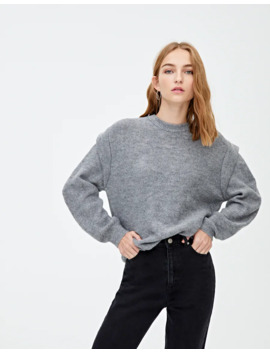 Grey Sweater With Shoulder Pads by Pull & Bear
