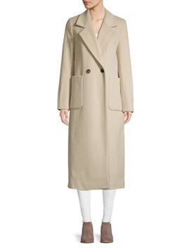 Double Breasted Wool Blend Coat by Donna Karan