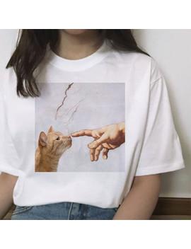 Cat Funny T Shirt Female Hands Casual Michelangelo Fashion Short Sleeve Tshirt Ulzzang Kawaii Women Streetwear Grunge Harajuku by Ali Express.Com