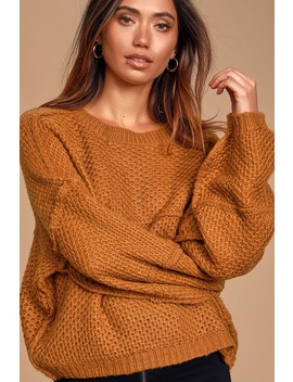 Stay Snuggly Camel Textured Knit Balloon Sleeve Sweater by Lulus