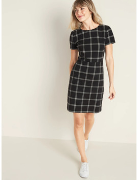 Ponte Knit Plaid Sheath Dress For Women by Old Navy