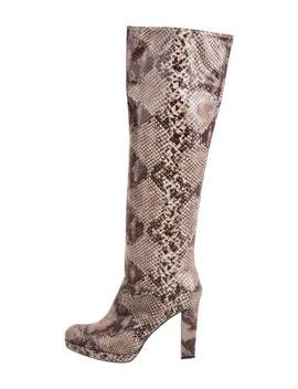 Printed Semi Pointed Toe Knee High Boots by Stuart Weitzman