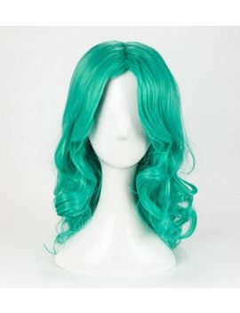 Sailor Moon Neptune Kaiou Michiru Wig Styled Long Green Wavy Cosplay Wig + Cap by Unbranded