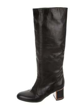 Leather Round Toe Knee High Boots by Veronique Branquinho