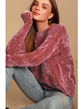 Sweeter Times Mauve Chenille Knit Sweater by Lulus