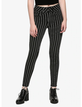 Ht Denim Black &Amp; White Pinstripe Hi Rise Super Skinny Jeans by Hot Topic