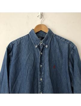 Vintage Ralph Lauren Denim Shirt In L But Would Fit by Depop