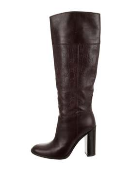 Leather Gg Knee High Boots by Gucci