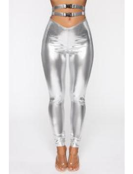 Metallic Goddess High Rise Leggings   Silver by Fashion Nova