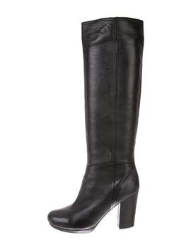 Leather Round Toe Knee High Boots by Prada