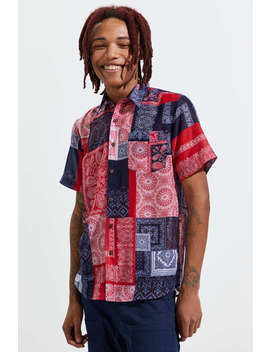 Raga Man Bandana Pattern Short Sleeve Button Down Shirt by Raga Man