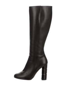Leather Round Toe Knee High Boots by Salvatore Ferragamo