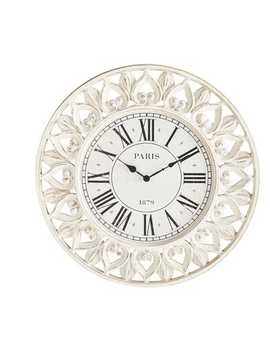 Paris White Carved Wood Wall Clock by Pier1 Imports