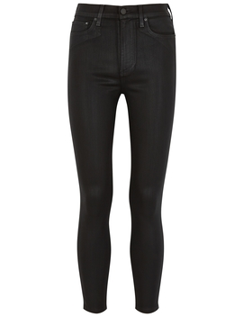 Good High Rise Black Coated Skinny Jeans by Alice & Olivia Jeans