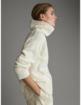 Cable Knit High Neck AprÈs Ski Sweater by Massimo Dutti
