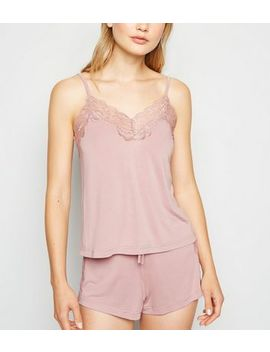 Mid Pink Lace Trim Cami And Shorts Pyjama Set by New Look